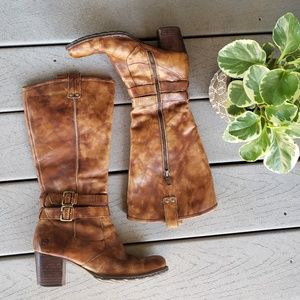 Born Lewisa Distressed Rider Boots in Cuoio